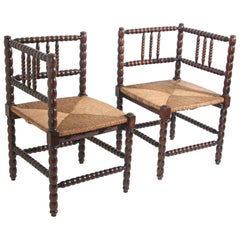 Pair of Antique French Rush-Seat Corner Chairs