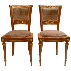 Pair of Antique French Satinwood and Bronze D'Ore Sidechairs, circa 1880-1890