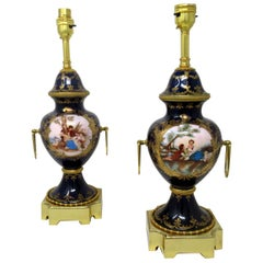 Pair of Antique French Sèvres Porcelain Ormolu Gilt Bronze Table Urn Lamps