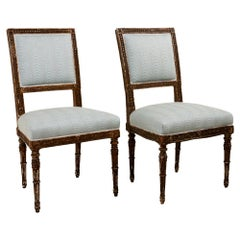 Pair of French Side Chairs, Upholstered in Schumacher Hurdles Performance Fabric