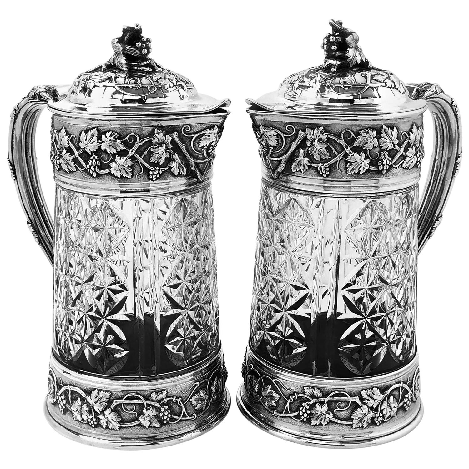 Pair of Antique French Silver and Glass Claret Jugs / Wine Decanters by Odiot