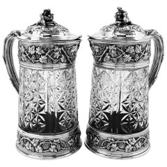Pair of Antique French Silver and Glass Claret Jugs / Wine Decanters Odiot c1870