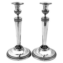 Pair of Antique French Silver Candlesticks circa 1815 Richard - Emile Agu