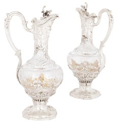 Pair of Antique French Silver Mounted Glass Decanters by Puiforcat