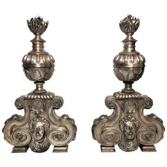 Pair of Antique French Silvered Bronze Andirons, circa 1880