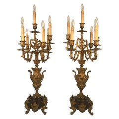 Pair of Antique French Six Arm Candelabra, Bronze Dore on Rouge Marble Bases