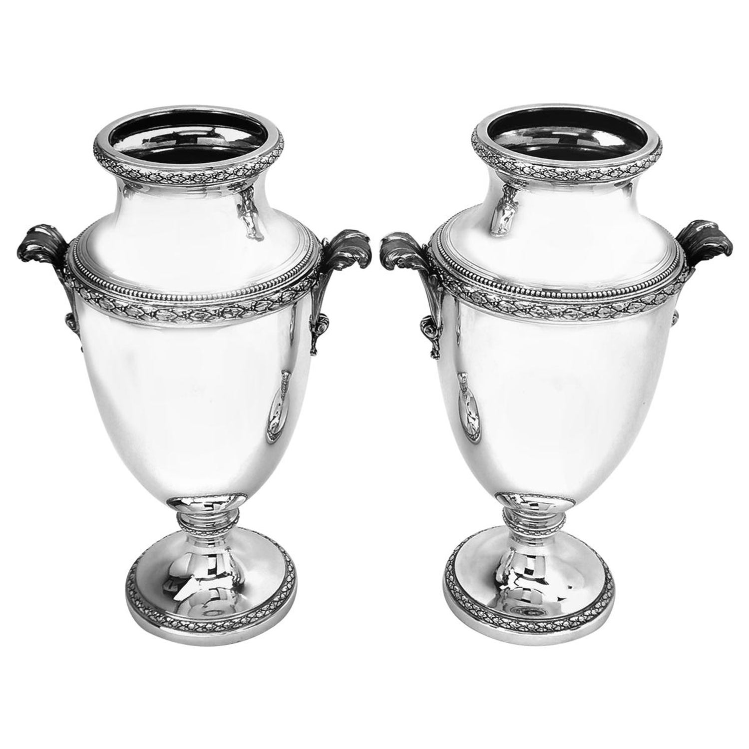 Pair of Antique French Solid Silver Vases circa 1900 Tetard Frères Paris, France