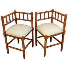 Pair of Antique French Stick and Ball Corner Chairs with Coral Polychrome