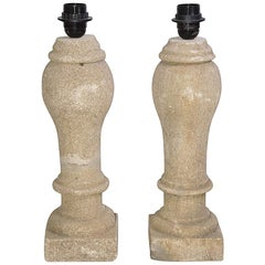 Pair of Antique French Stone Baluster Lamps