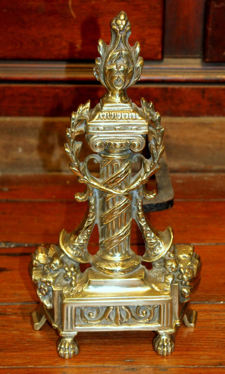 Pair of Antique French Style Cast Brass Andirons In Good Condition For Sale In Charleston, SC
