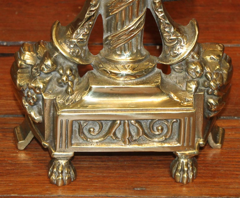 20th Century Pair of Antique French Style Cast Brass Andirons For Sale