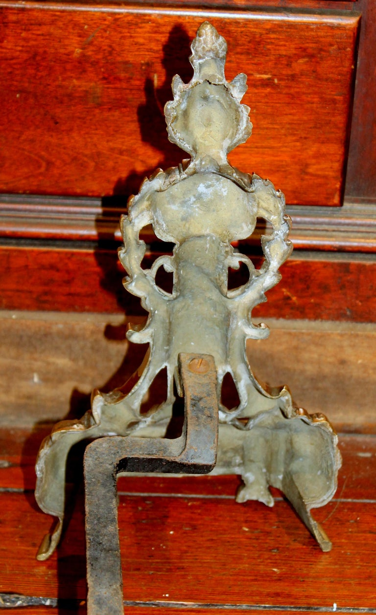 Pair of Antique French Style Cast Brass Andirons For Sale 2