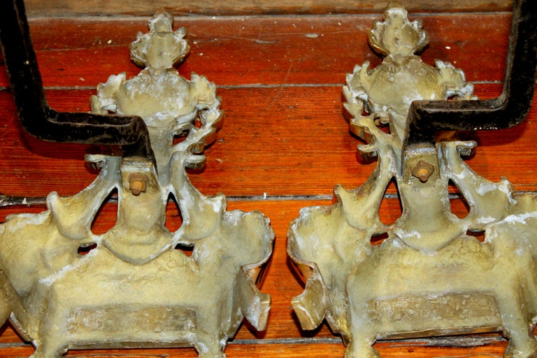 Pair of Antique French Style Cast Brass Andirons For Sale 4