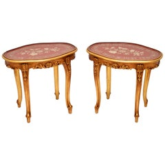 Pair of Antique French Style Giltwood Side Tables