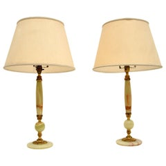 Pair of Antique French Style Onyx Table Lamps