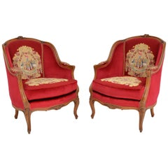 Pair of Antique French Tapestry Armchairs