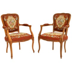Pair of Antique French Tapestry Salon Armchairs