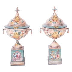 Pair of Antique French Tole Urns