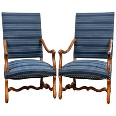 Pair of Antique French Upholstered Elm Frame Carver Chairs