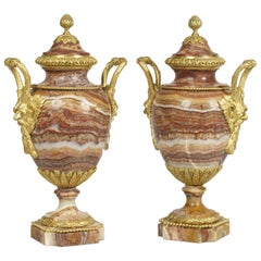 Pair of Antique French Vases in Red Alabaster and Gilt Bronze