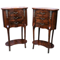 Pair of Antique French Walnut Marquetry Kidney Gueridon Tables