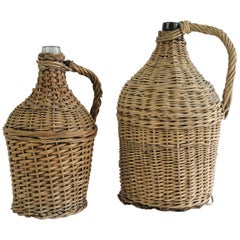 Pair of Antique French Wicker Wrapped Glass Wine Jug Demi-John