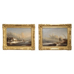 Pair of Antique French Winter Scene Paintings, Albert Lenoir, 1851