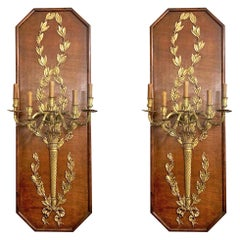Pair of Antique French Wood Paneled Bronze D'ore Wall Sconces