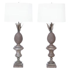 Pair of Antique French Zinc Neo Classic Pineapple Table Lamps