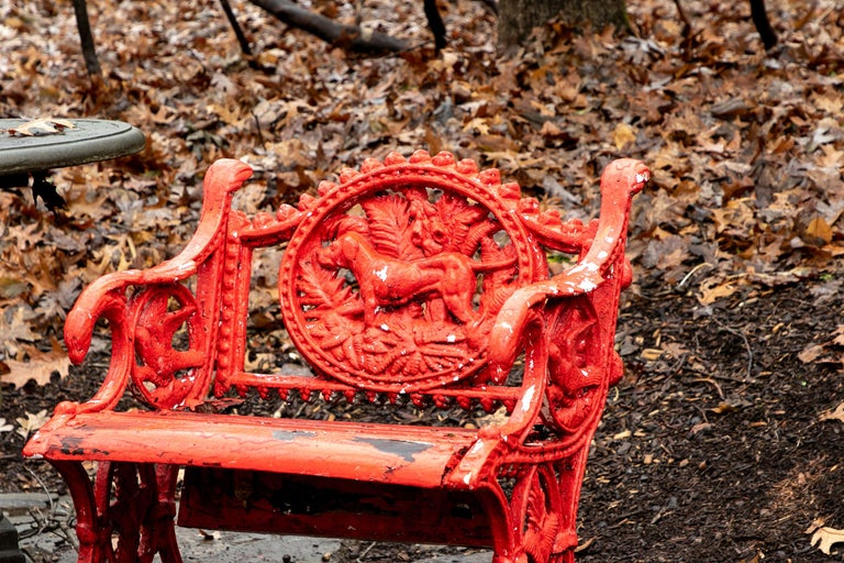 Victorian Pair of Antique Garden Armchairs in Red Paint
