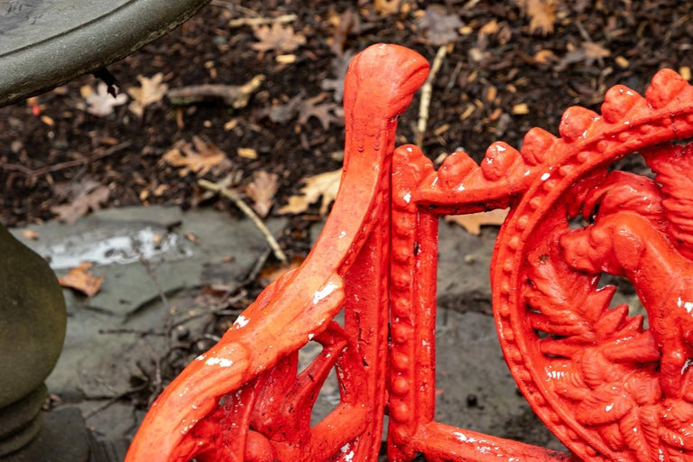 Pair of Antique Garden Armchairs in Red Paint 1