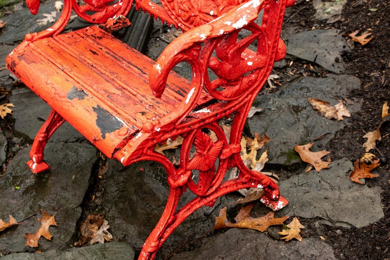 Pair of Antique Garden Armchairs in Red Paint 2