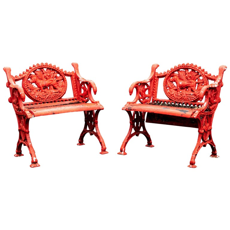 Pair of Antique Garden Armchairs in Red Paint