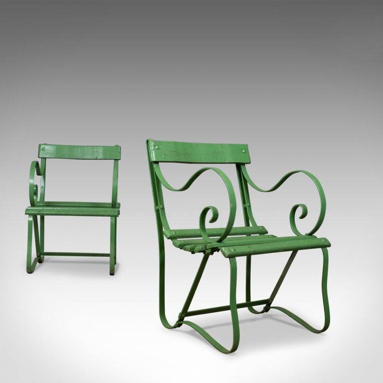 This is a pair of antique garden chairs, two, painted, English, Victorian - Pair Of Antique Garden Chairs, Painted, English Victorian, Iron