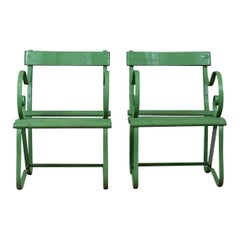 Pair of Antique Garden Chairs, Painted, English Victorian, Iron, Hardwood