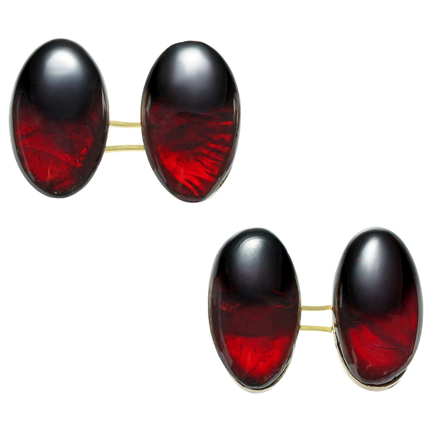 Pair of Antique Garnet Cufflinks