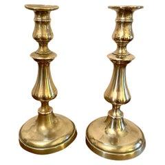 Pair of Antique George III Brass Candlesticks