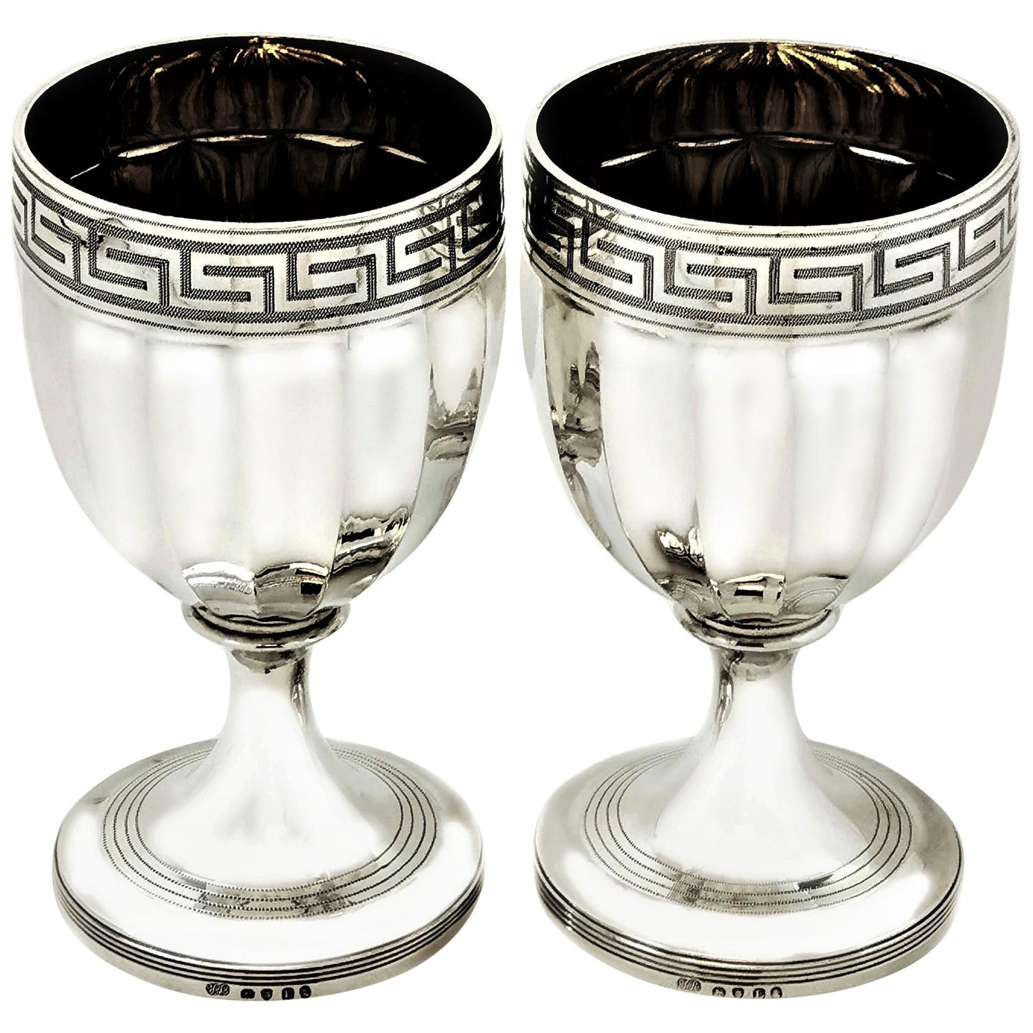 Pair of Antique George III Sterling Silver Wine Goblets, 1806