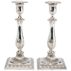 Pair of Antique George III Style Silver Candlesticks