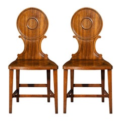 Pair of Antique Georgian Chippendale Hall Chairs, circa 1770