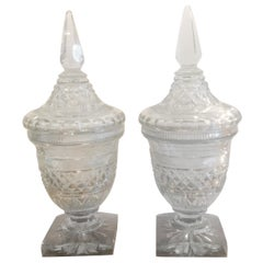 Pair of Antique Georgian Cut Glass Urns Jars