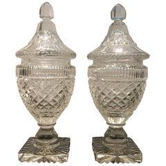 Pair of Antique Georgian Period Cut Glass Sweet Meat Urns, circa 1820