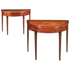 Pair of Antique Georgian Regency D-Shaped Side Tables or Tea Tables, circa 1790