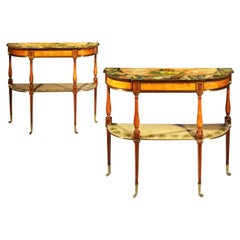 Pair of Antique Georgian Regency Satinwood Painted Console Tables, circa 1790