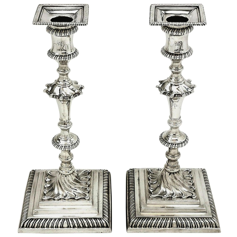 Pair of Antique Georgian Silver Candlesticks 1769 Ebenezer Coker Candle Holders