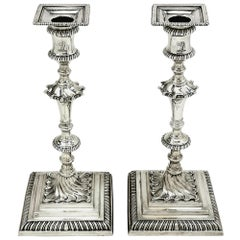 Pair of Antique Georgian Silver Candlesticks 1769 Ebenezer Coker Candle Holders