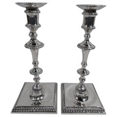 Pair of Antique Georgian Sterling Silver Candlesticks by Crichton