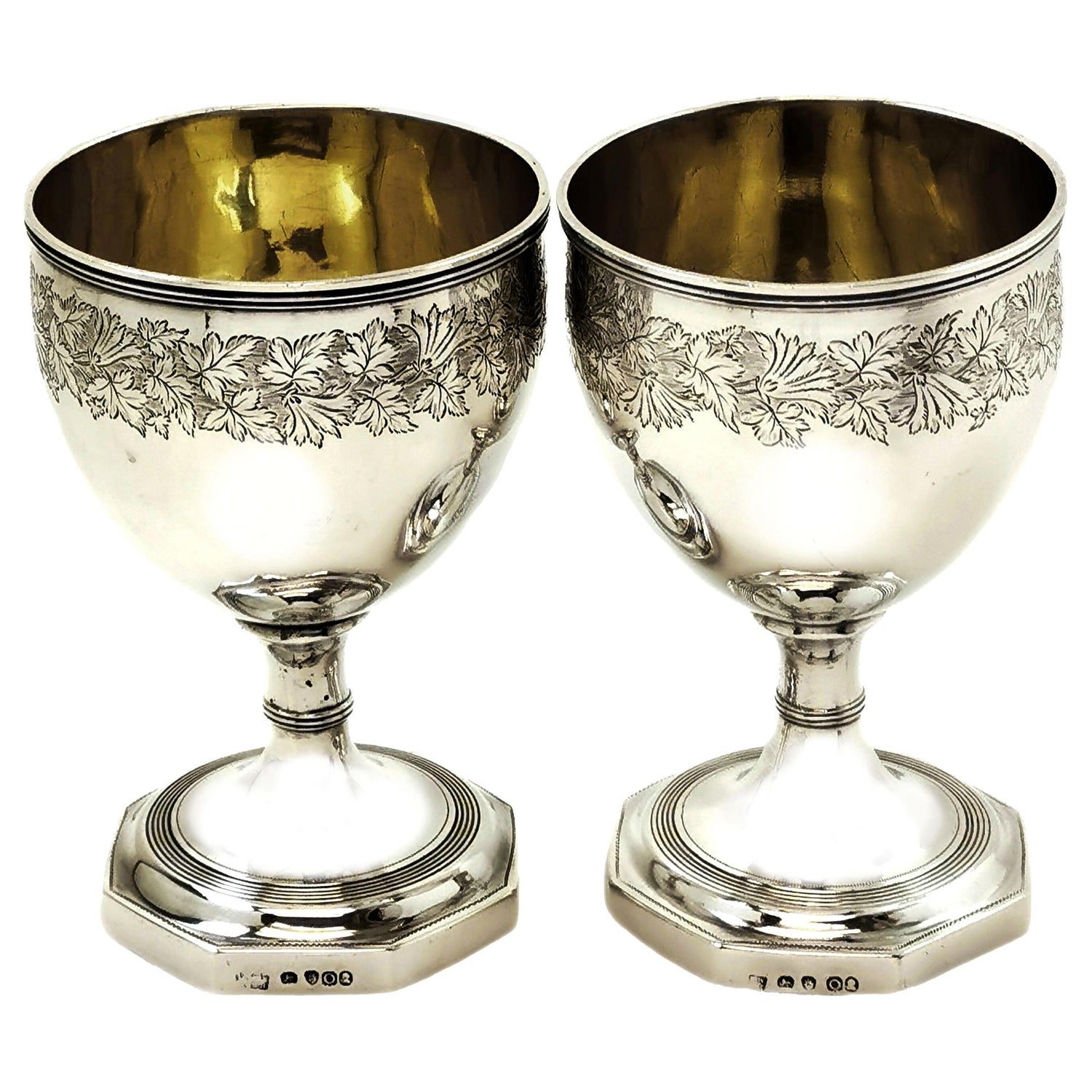 Pair of Antique Georgian Sterling Silver Goblets 1809 Wine Goblets