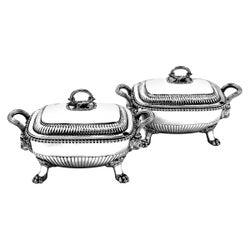 Pair of Antique Georgian Sterling Silver Sauce Tureens, 1810