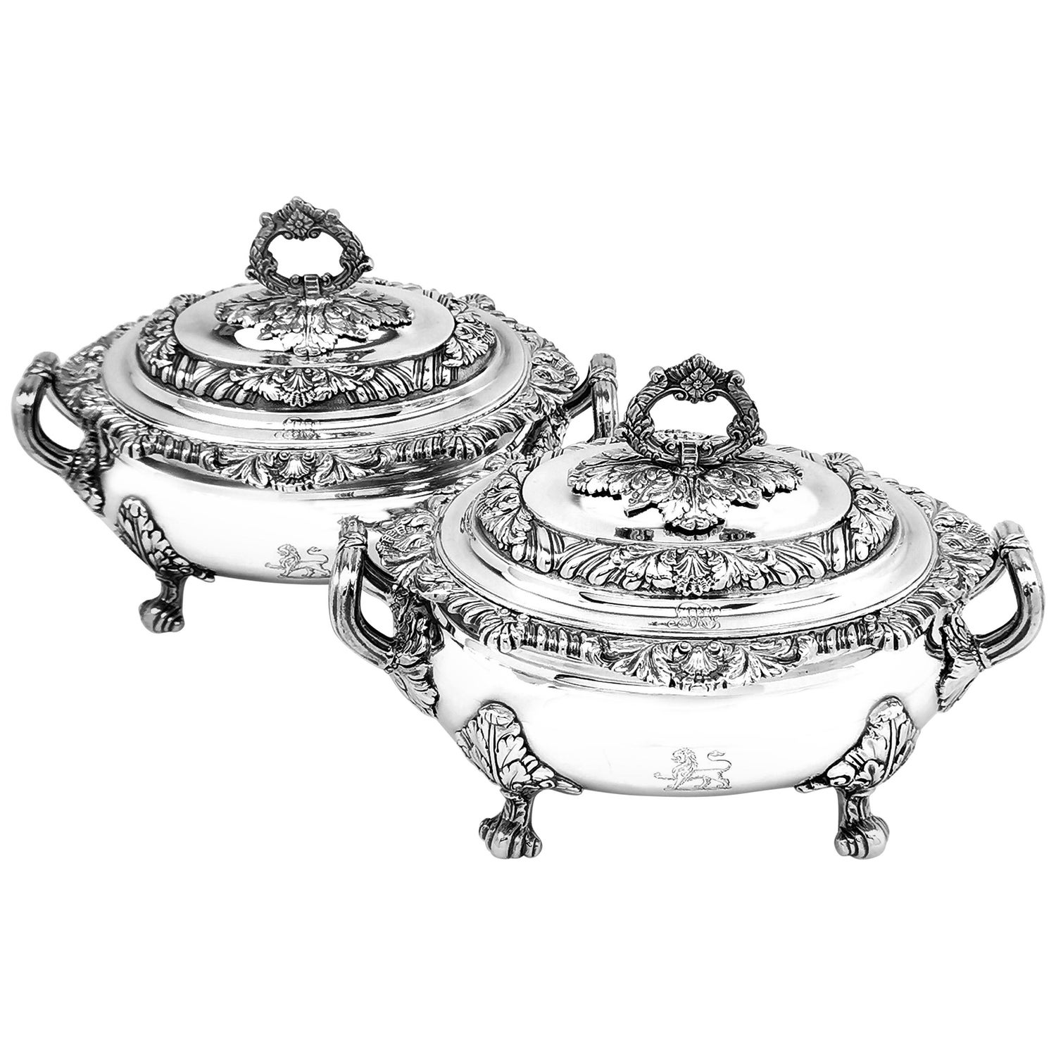 Pair of Antique Georgian Sterling Silver Sauce Tureens, 1821